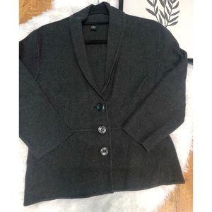 Alfani 3-Button Sweater Jacket Dark Gray